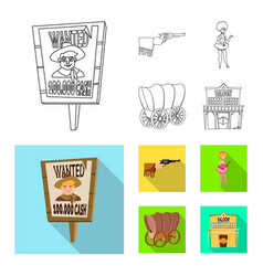 Isolated object texas and history icon set of vector