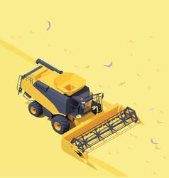 Isometric combine harvester in wheat field vector