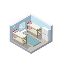 Isometric of hostel room cheap hotel icon vector