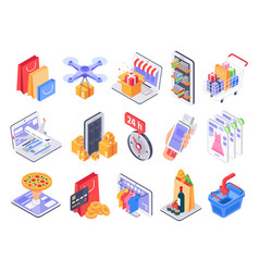isometric shopping online shop market delivery vector image