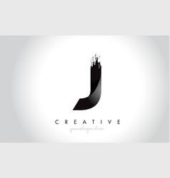 j letter design with brush stroke and modern 3d vector image