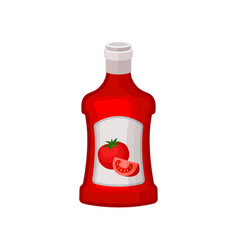 ketchup in red plastic bottle natural product vector image