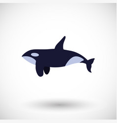 Killer whale flat icon vector