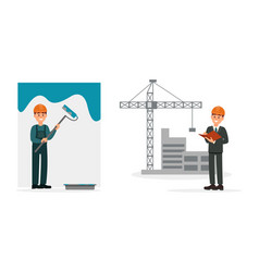 man engineer checking details on construction site vector image