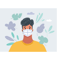man wearing flue face mask on white vector image