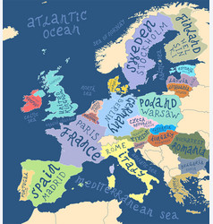 map europe with hand drawn lettering vector image