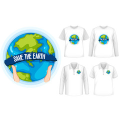 mock up shirt with planet icon vector image