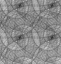 Monochrome seamless wired swirl fractal pattern vector