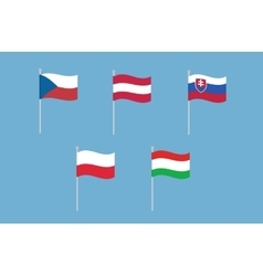 National flags of Czech Republic Austria vector image