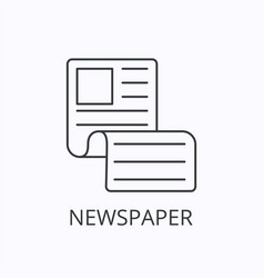 newspaper thin line icon and concept vector image