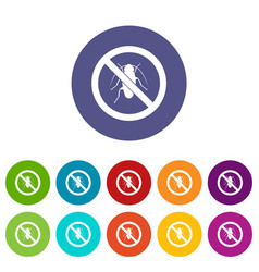 no cockroach sign set icons vector image