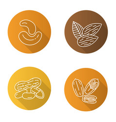 Nuts flat linear long shadow icons set vector