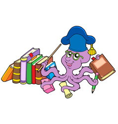 Octopus teacher with books vector