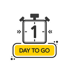 One day to go flat style on white background vector