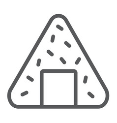 Onigiri line icon asian and food japanese meal vector