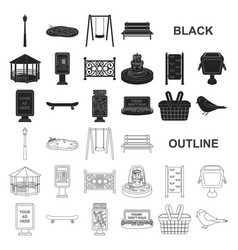 Park equipment black icons in set collection for vector
