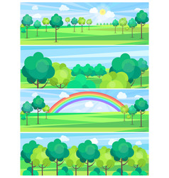 park in summertime and nice weather poster vector image