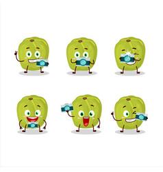 Photographer profession emoticon with amla cartoon vector