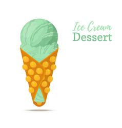 pistachio ice cream in belgian waffle vector image