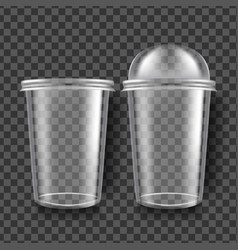 plastic cup transparent sphere dome cup vector image
