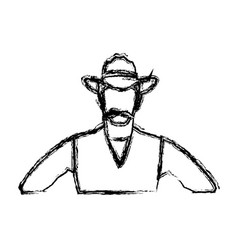 c0e235201c2 Portrait man in cowboy hat sketch vector ...