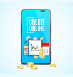 realistic 3d detailed credit online app concept vector image