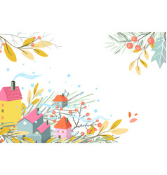 rural seasonal scene with cottages fall or winter vector image