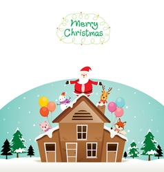 Santa Claus Snowman And Animals On Roof vector image