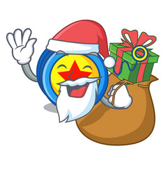 santa with gift yoyo mascot cartoon style vector image