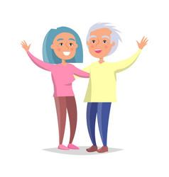Senior couple wave hands vector