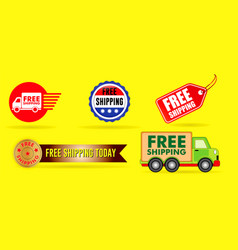 set cardboard box free shipping vector image