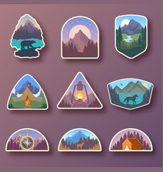 set nine mountain travel emblems camping vector image