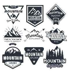 set of mountain labels in vintage style vector image