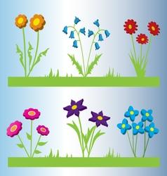Set of six 3D flowers vector