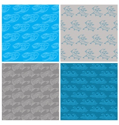 set seamless waves background vector image