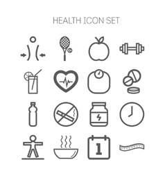 set simple icons for health and sport vector image