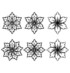Simple Black and White Flowers4 vector