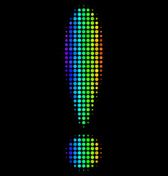 Spectral colored dotted exclamation sign icon vector