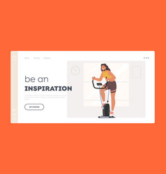 sports workout landing page template woman vector image