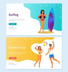 Surfing and summer fun beach activity vector