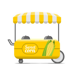 sweet corn street food cart colorful image vector image