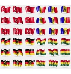 Turkey Moldova Germany Ghana Set of 36 flags of vector image