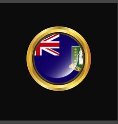 Virgin islands uk flag golden button vector