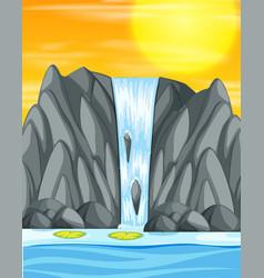 Waterfall sunset background scene vector