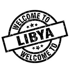 Welcome to libya black stamp vector