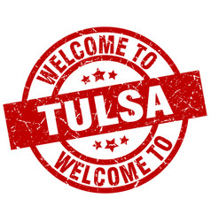 welcome to tulsa red stamp vector image