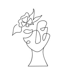 Woman face one line drawing monoline vector