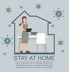 Work at home during isolation vector