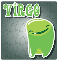 Zodiac sign virgo with cute colorful monster vector