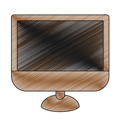color crayon stripe silhouette of lcd monitor vector image